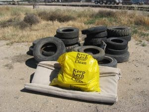 Harold Reed 5-2-10 tires sign with full bag